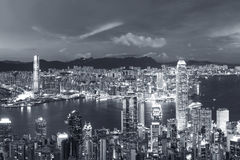 Victoria Harbor of Hong Kong city at dusk. Panorama of Victoria Harbor of Hong Kong city at dusk Royalty Free Stock Photos