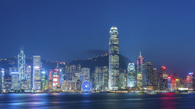 Victoria Harbor of Hong Kong city at dusk. Panorama of Victoria Harbor of Hong Kong city at dusk Stock Photography