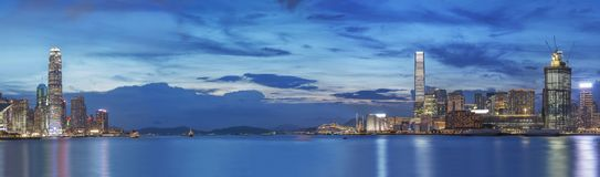 Victoria Harbor of Hong Kong at dusk. Panorama of Victoria Harbor in Hong Kong at dusk Royalty Free Stock Photography