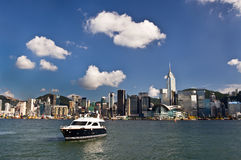 Victoria harbor in hong kong in a sunny day Royalty Free Stock Images