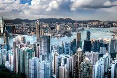 Victoria Harbor in Hong Kong Taken Atop Victoria Peak, HDR Royalty Free Stock Image
