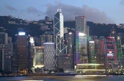 Victoria Harbor Hongkong alle scene di notte Immagini Stock Libere da Diritti