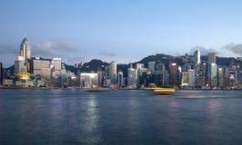 Victoria Harbor Hongkong China alle scene di tramonto Fotografia Stock Libera da Diritti