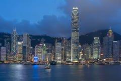 Victoria Harbor i den Hong Kong staden Arkivfoton