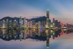 Victoria Harbor i den Hong Kong staden Fotografering för Bildbyråer