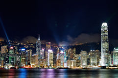 Victoria Harbor during a Light Show Stock Images