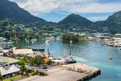 Victoria harbor, Mahe island, Seychelles Stock Images