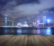 Victoria harbor in the night Stock Images