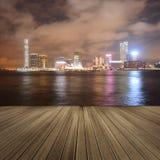 Victoria harbor in the night Stock Photos