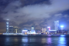 Victoria harbor in the night Stock Photography