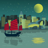 Victoria Harbor night scenery vector illustration