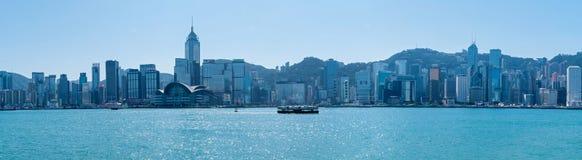 Victoria Harbor och Hong Kong Island Royaltyfria Bilder