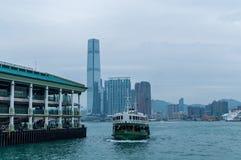 Victoria Harbor och Hong Kong Island Fotografering för Bildbyråer