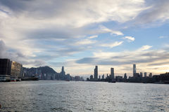 the Victoria Harbor view at ferry hk Royalty Free Stock Photo