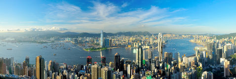 Victoria Harbour. Hong Kong, shot from the Peak Royalty Free Stock Image