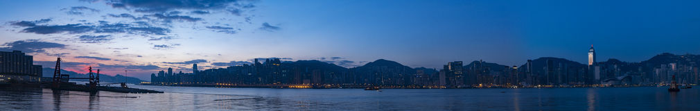 Hong Kong City and Victoria Harbour at Dawn Royalty Free Stock Image
