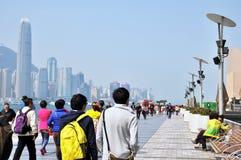 Victoria Harbour de la primavera de Œin del ¼ del centerï de Œfinancial del ¼ del ï de Hong-Kong Fotos de archivo