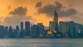`-Victoria Harbour ` den Hong Kong flodstranden Arkivfoton