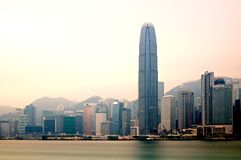Victoria Harbour in Early Morning Long Exposure Stock Images