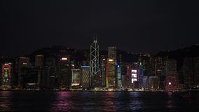 the night view of Victoria Harbour stock photo