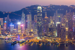 Victoria Harbour in Hong Kong, China. Twilight Building at Victoria Harbour in Hong Kong, China stock photos