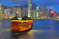 Victoria Harbour of Hong Kong. Victoria Harbour is a natural landform harbour situated between Hong Kong Island and the Kowloon Peninsula in Hong Kong Royalty Free Stock Photo