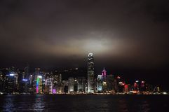 Victoria harbour of Hong Kong at night. Beautiful night view royalty free stock photography