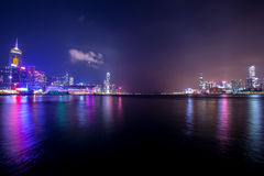 Victoria Harbour of Hong Kong at night. With buildings Royalty Free Stock Photo
