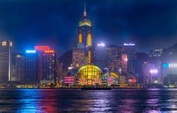 Victoria Harbour, Hong Kong. At night Royalty Free Stock Images