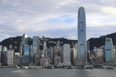 Victoria Harbour in Hong Kong. Pretty Victoria Harbour scene in Hong Kong. many modern buildings. city center. the tallest building IFC in hong kong Stock Photos