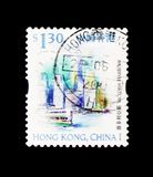 Victoria Harbour, Hong Kong Scenery and Landmarks serie, circa 1999. MOSCOW, RUSSIA - JANUARY 2, 2018: A stamp printed in Hong Kong shows Victoria Harbour, Hong Royalty Free Stock Photography