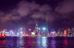 Victoria Harbour and Hong Kong skyscrapers Stock Images