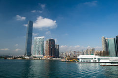 Victoria harbour with landmark ICC building Stock Image