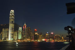 Victoria harbour at night Royalty Free Stock Photography