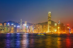 Victoria Harbour night scape Royalty Free Stock Photo