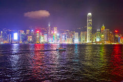 The Victoria Harbour night scape Royalty Free Stock Images