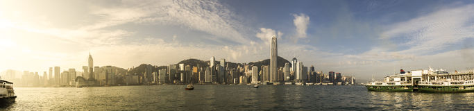 Victoria harbour. Panorama view of Hong Kong cityscape over Victoria Harbour in the morning Royalty Free Stock Photography