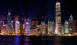 Victoria Harbour in Spotlight Show Royalty Free Stock Photography