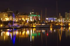 Victoria Inner Harbour at night, BC, Canada Stock Image