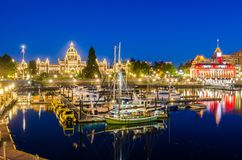 Victoria Inner Harbour at Night. Victoria Inner Harbour and British Columbia Provincial Parliament Building at Night. Great Reflection in Water. BC, Canada royalty free stock photography