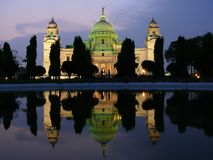 Victoria memorial. Beautiful Victoria Memorial at the dusk with amazing lights and reflection in the pool, Culcutta Royalty Free Stock Images