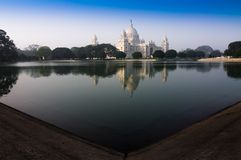 Victoria Memorial, Kolkata , India - reflection on water. A Historical Monument of Indian Architecture. It was built between 1906 and 1921 to commemorate Queen Stock Photography