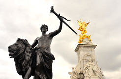 Victoria Monument in the Buckingham Palace. London closeup Royalty Free Stock Image