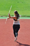 Victoria Nebogitskaia is throw a javelin. Stock Photo