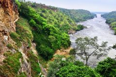 Victoria Nile, Uganda, Africa. View on the Victoria Nile river from The Murchison waterfall at dawn, northern Uganda, Africa Stock Image