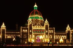 Victoria Parliament. Building decorated for Christmas at night. BC, Canada Stock Photos
