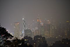 Victoria Peak em Hong Kong, plataforma na noite fotos de stock royalty free