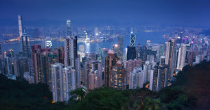 Victoria Peak Hong Kong, Modern office buildings from the Peak. Victoria Peak, city Skyline in Hong Kong bay. Night view of Cityscape modern office buildings Stock Photography