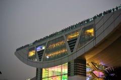 Victoria Peak in Hong Kong, platform at night stock image