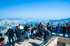 Victoria Peak Tourists Stock Photography